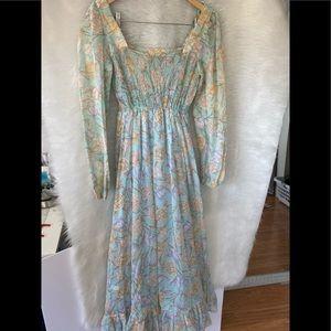 Vintage 70s boho prairie light blue floral dress 5